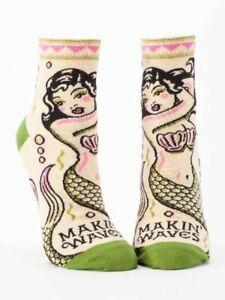 Makin' Waves Blue-Q Women's Ankle Socks New Novelty Swimming Mermaid Fashion
