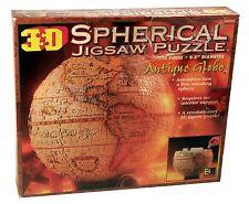 "3D Spherical Antique Globe Jigsaw Puzzle 9.5"" Diameter Assembles Free Standing!"