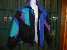 ST. JOHN'S BAY MULTI COLORED WINTER JACKET w HOOD NYLON SHELL POLY FILL SIZE M