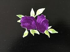 Sew on & iron on  patches(small twin rose-purple)