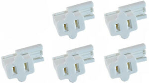 5-Pack Female Slip On Plugs, Zip Plugs, White, Add On Outlet Tap, for SPT-1 Cord