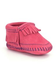 Minnetonka Riley Hot Pink Leather Infant Moccasin Bootie Size 2