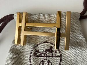 HERMÈS 32MM Belt Buckle GOLD AU CARRE with Pouch