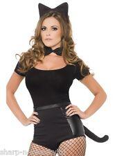 Femme Sexy Halloween Noir Animal Chat Oreilles Queue Nœud