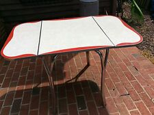 Vintage Mid Century Red / White / Chrome /  Formica Top Expandable Kitchen Table