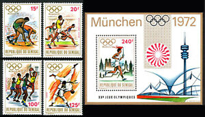 Senegal 365-368,369 S/s, MNH. Olympics, Munich. Wrestling, Basketball, Judo,1972