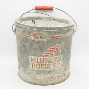 Vintage Galvanized Old Pal Fishing Breather Bait Bucket Minnow Can Lid & Strap