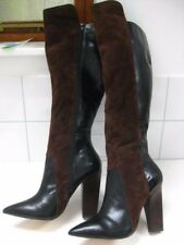 Ladies NEXT black patent leather brown real suede knee high BOOTS size UK 7 41