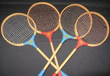 2 Pair Vintage Victor Crown Wood Badminton Rackets Red & Blue Collectible Games