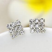 Bling Crystal Squared Silver Ear Studs Fashion Men Women Geometry Earrings