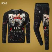 PHILIPP PLEIN Black Skull Men Long Sleeve Sports Suit PS8602# Size M-3XL