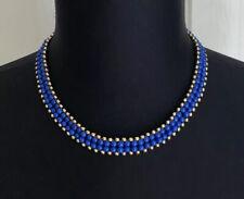 Retro Blue & Gold Tone 4 Row Beaded Collar Necklace