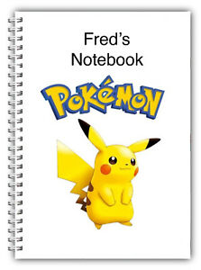A5 PERSONALISED NOTEBOOK NOTES BOOK 50 LINED OR BLANK, POKEMON, 07