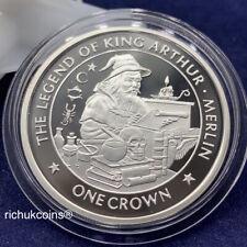 [1996 IOM Crown]1x Isle of Man 1 Crown Silver Proof Coin King Arthur Merlin-UNC