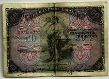 BILLETE CLÁSICO DE 50 PESETAS DE 1906 (BC) (SERIE B)