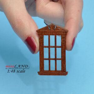 """1:48 1/4"""" quarter scale single window walnut with Plexiglas dollhouse miniature"""