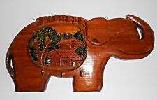 HONDURAS CARVED WOODEN KEY RACK Elephant with Relief Scene