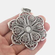 2 Large Tibetan Silver Flower Charms Pendants Blank 10mm Round Cabochon Settings