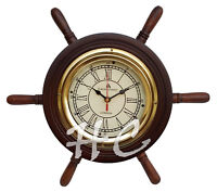 "14"" Wooden Ship Wheel Clock ~ Bond Street Wood / Brass Nautical Home Wall Decor"