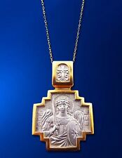 Silver 925 Gold Russian Saint St Michael Medal Icon Pendant With Sword Chain 18""