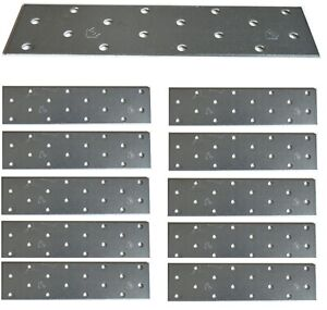 12 x Flat Joining Metal Plates Brackets For Wood Garden Sleepers l 160 x 40x 2mm