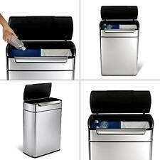 48-liter fingerprint-proof brushed stainless steel touch-bar recycling tras