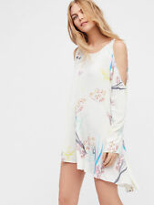 Free People Clear Skies Cold Shoulder Printed Tunic Mini Dress S Neutral