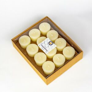 12 White Unscented 100 Percent  Beeswax Votives, Votive Candles, 12 Hour
