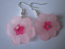 Drop / Dangle Earrings - Cherry Blossom - Pink Flowers - Silver Plated