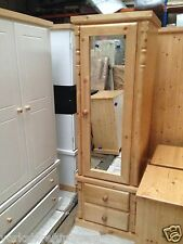HAND MADE WALES NARROW MIRRORED PINE 1 DOOR + 2 DRAWER WARDROBE ASSEMBLED