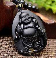100% Natural Obsidian Hand-carved Laughing Buddha Lucky Pendant Free Necklace