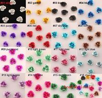 100pcs Rose Flower Aluminum Jewelry Making Spacer Beads 6mm U Pick Color