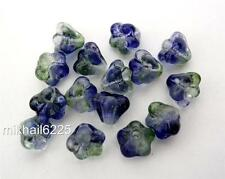 50 6mm Czech Glass Baby Bell Flower Beads: Dual coated - Blueberry/Green Tea