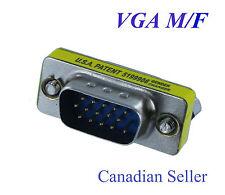 VGA HD15 Male to HD15 Female Mini Gender Changer Adapter (ADH1512)