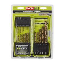 Ryobi Titanium Coated Drill Bit Bits Set (21 pc.) Straight Shank Tool with Case