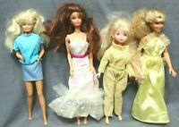 Lot of 4 BARBIE DOLLS with clothes 1966 to 1987 vintage good condition