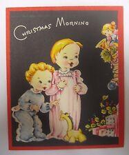Vintage 1950s Christmas Card KIDS IN JAMMIES X-MAS MORNING by Stocking Pajamas