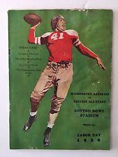 1938 Washington Redskins College All Stars Football Program Sammy Baugh