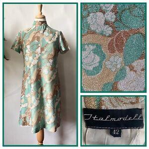 Vintage 1960s Green Lurex Psychedelic Psych Dress Mod Go Go Twiggy Size 12 14