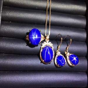 Certified Natural Sapphire Pendant & Ring & Eardrop 925 Silver + Free Chain Gift