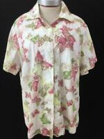 ALIA top blouse size 20W short sleeve butterfly pink green texture cotton
