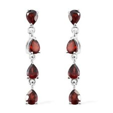 Drop Dangling Earrings Cttw 1.7 925 Sterling Silver Pear Garnet Tear