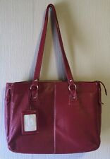 BUXTON RED LEATHER Shoulder Bag Tote Laptop Computer Tote. Travel Bag Case -USED