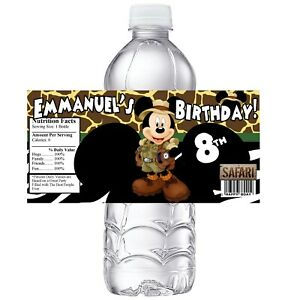 20 SAFARI MICKEY CAMO PERSONALIZED BIRTHDAY PARTY FAVORS ~ WATER BOTTLE LABELS