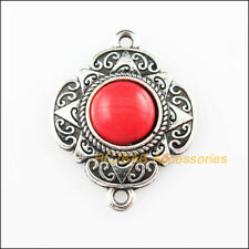5 Charms Connector Flower Red Turquoise Tibetan Silver Pendant Retro 23.5x30mm