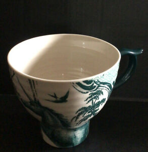 Anthropologie Unicorn Coffee Cup Gorgeous Teal/Cream Color 24oz