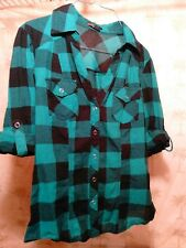 Forever 21 Women(*pilling)Green|Blk Plaid Western Snap closure Shirt ~ sz Small