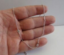 925 STERLING SILVER CHAIN NECKLACE W/ BEZEL SET 2.50 CT LAB DIAMONDS / 18''