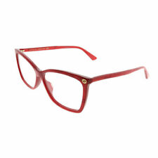 New Authentic Gucci GG0025O 004 Red Plastic Rectangle Eyeglasses 56mm