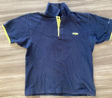 Mens Nike M Medium 39/41 Navy Blue Yellow Trim 100% Cotton Golf Polo Shirt